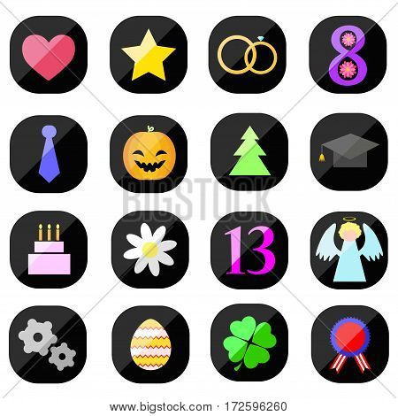 Flat holiday icons isolated on white background