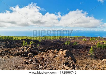 Landscape with valley, mountains, sea from road to Teide National Park, Tenerife, Canary Islands, Spain