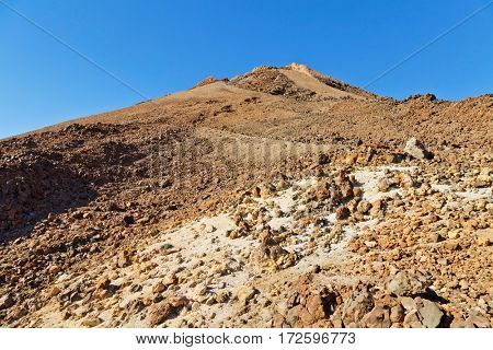 A view of volcano Mount Teide, in Teide National Park, in Tenerife, Canary, Spain