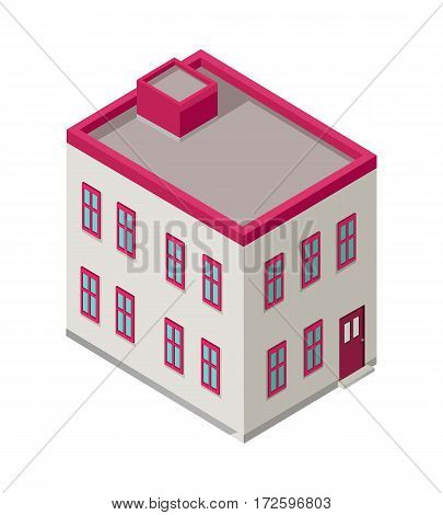 Isometric city building vector. Isometry icon of city. Modern architecture, skyscraper exterior, clean city. Home and office building. Eco friendly environment. Residential estate cityscape.