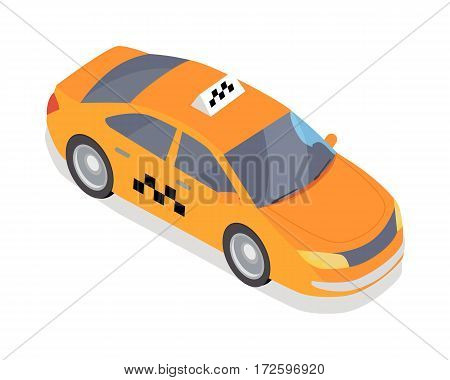 Taxi car isometric projection icon. Orange city cab vector illustration isolated on white background.  For game environment, transport infographics, logo, web design