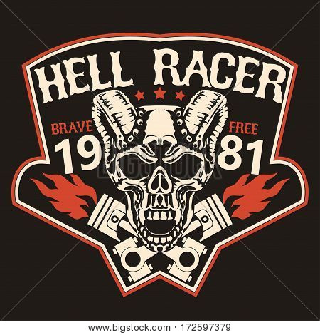 Motorcycle t-shirt graphics. Skull rider with pistons, horned demon. Racer community emblem. Biker vintage apparel print. Vector