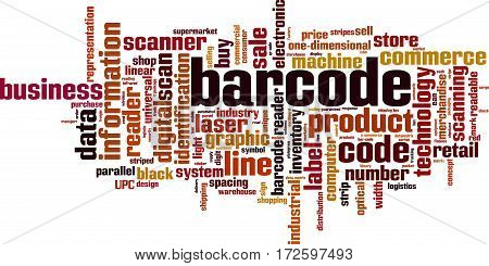 Barcode word cloud concept. Vector illustration on white