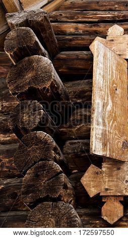 Building, fragment of the old wooden building. Wooden building, old building. Abstract fragment of old building.
