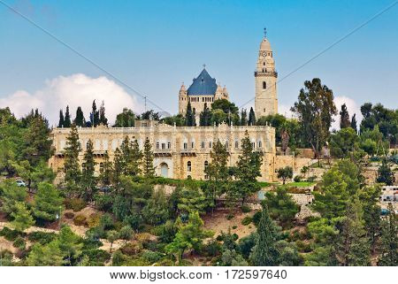 View of Church of Dormition on Mount Zion, Jerusalem, Israel
