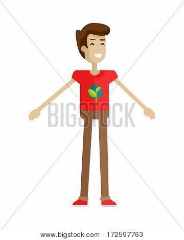 Man with brown hair and in red T-shirt and brown pants. Hand gesture. Smiling young man personage in flat design isolated on white background. Vector illustration.