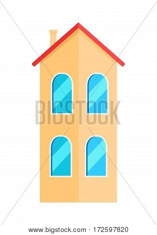 Two floor orange house. Flat design two-storey modern house. Colorful cottage house. House with two floors. Isolated object on white background. Vector illustration.