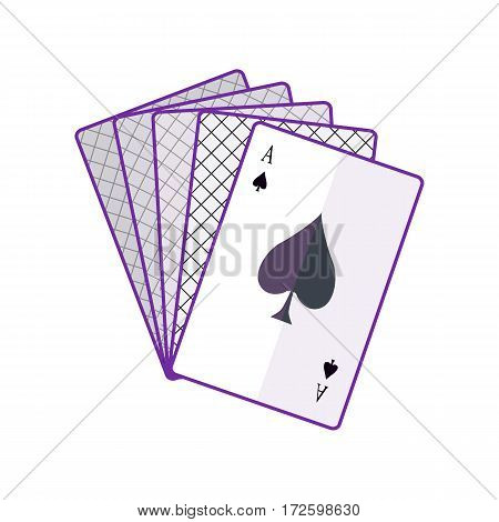 Playing Cards vector in flat style. Spread out cards with ace on top. Illustration for gambling industry, sport lottery services, icons, web pages, logo design. Isolated on white background.