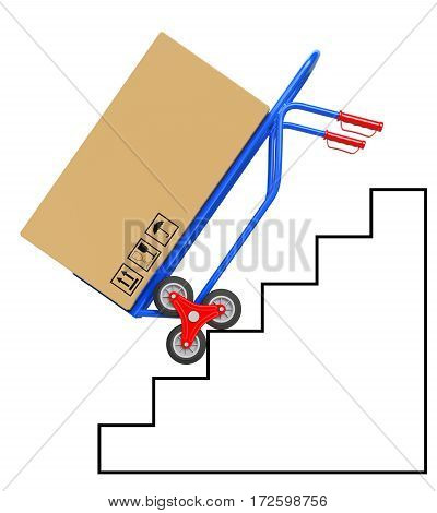 Stair climbing hand truck with package on staircase drawing - 3D illustration