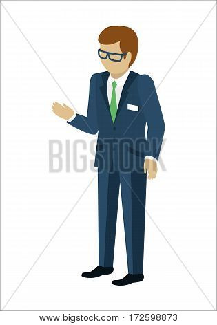 Man character vector in isometric projection. Male in business suite reaches out hand. Seller, assistant, manager, clerk, merchandiser, vendor, salesperson, consultant illustration. Isolated on white