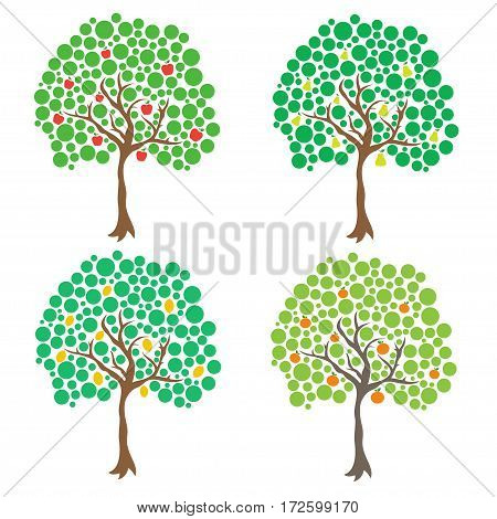Fruit trees. Vector clip art isolated on white
