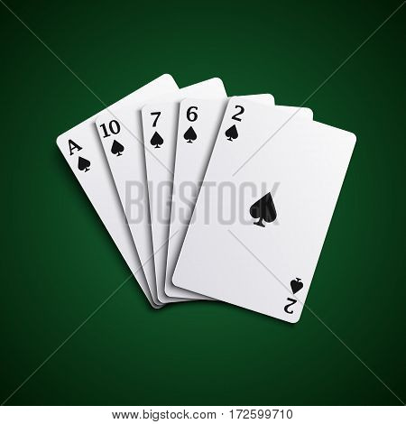 Poker hand cards flush combination template vector eps 10