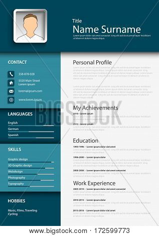Professional blue resume cv template vector eps 10