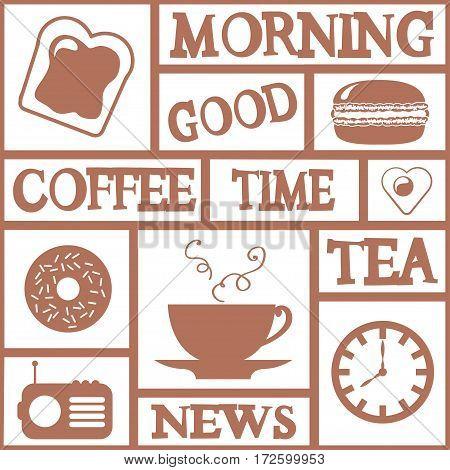 Good morning vector card. Seamless wallpaper. Coffee time