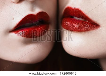 Female lips with red lipstick matte closeup. Macro photo. Girls lesbians