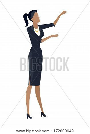 Businesswoman vector in flat design. Female character in business clothing with hands raised spends visual presentation. Human pose template for companies ad concepts, infographics. Isolated on white.