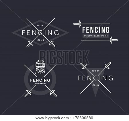 Set of Fencing sports vector logo or badge. Emblem elements. Fencing equipment - rapier, foil, mask. Sport academy
