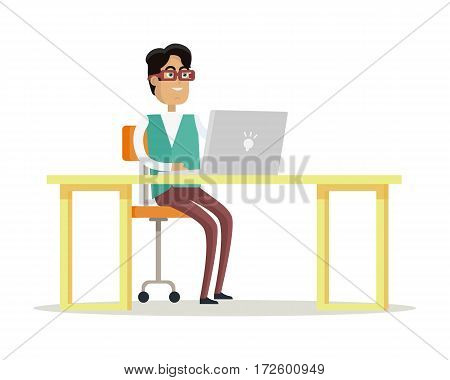 Young businessman works on his laptop in office, sitting at desk, looking at computer screen on white background. Smiling young man personage. Flat design vector illustration.