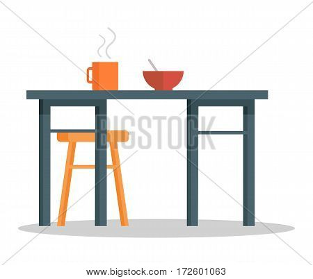 Empty chair, office table with hot cup of tea or coffee and bowl of soup or porridge. Place for food consumption isolated on white. Dining place in office interior design. Time to have snack. Vector