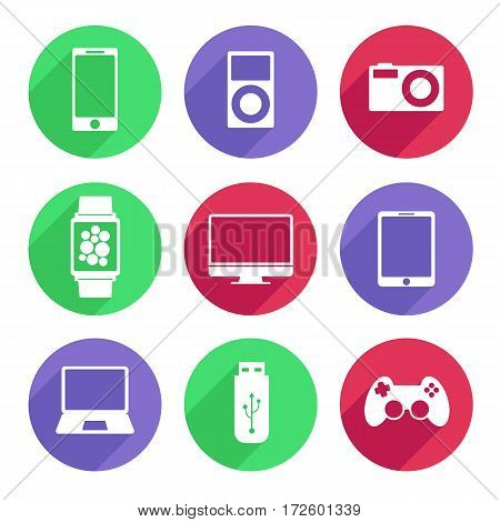 Set of electronic devices icon flat white color. Vector Illustration