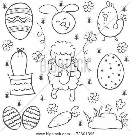 Illustration vector of easter egg doodles hand draw