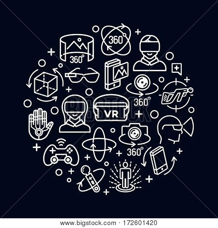 Virtual reality concept with white color icons think line style isolated on white background. 360 Degree, Panorama, Virtual Reality Helmet icon. Vector IIlustration