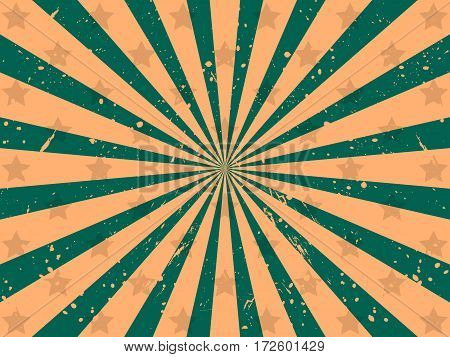 Background With Rays And Stars. Grunge Style. Vector Illustration
