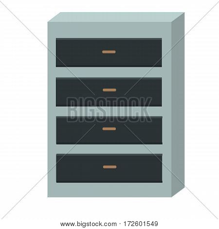 Chest of drawers isolated on white background. Modern office interior design. Cupboard with empty drawer. Wooden chest of drawers with clipping path. Dresser container. Vector illustration