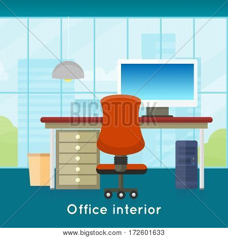 Office interior background. Modern office interior with desktop in flat design. Interior office room. Modern office room against the window. Office space. illustration of office. Working place