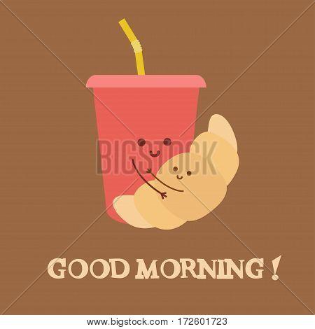Good morning. Vector illustration. Soda and croissant