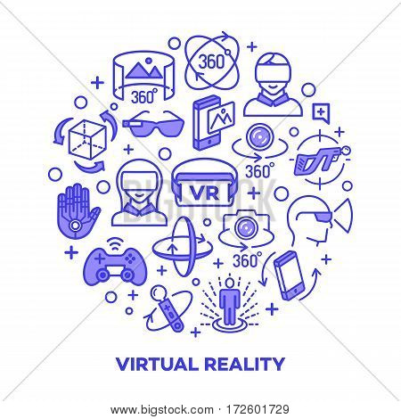 Virtual reality concept with color icons isolated on white background. 360 Degree, Panorama, Virtual Reality Helmet icon. Vector IIlustration