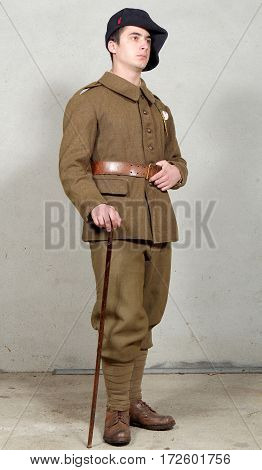 a french soldier in 1940's uniform military