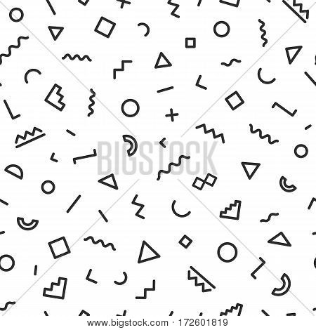 Memphis seamless pattern black color consisting of geometric shapes on white background for use on business card, banner and other. Vector Illusration