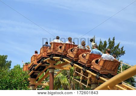 PORT AVENTURA/ SPAIN - MAY 11. A wooden roller coaster for children Tami-Tami in the theme park Port Aventura on May 11, 2015 in city Salou, Catalonia, Spain.
