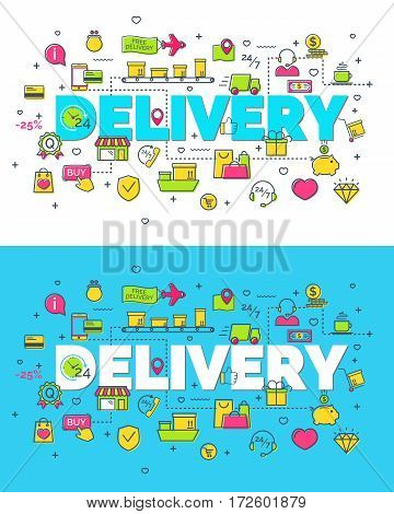 Set of delivery concept with modern thin line flat icons. Creative idea concept. Art style design for business idea, website banner. Vector Illustration