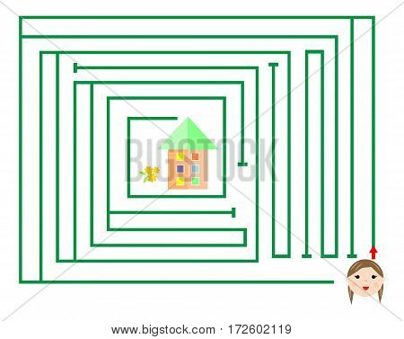 maze game (help me find my way to the house of the girl) vector illustration