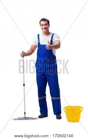 Man cleaning floor isolated on white