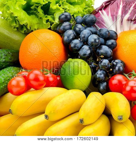 collection fresh fruits and vegetables. Natural background.