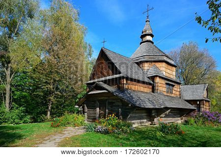 Ancient wooden Slavic church in Ukraine.