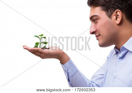 Man holding green seedling isolated on white