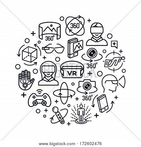 Virtual reality concept with black color icons think line style isolated on white background. 360 Degree, Panorama, Virtual Reality Helmet icon. Vector IIlustration
