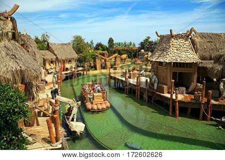 PORT AVENTURA/ SPAIN - MAY 11. Interactive water attraction Angkor located in the China area in the theme park Port Aventura on May 11, 2015 in city Salou, Catalonia, Spain.
