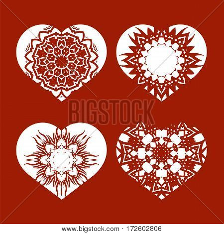 Romantic White Heart Set Isolated on Red Background.  Image Suitable for Laser Cutting. Symbol of Valentines Day.
