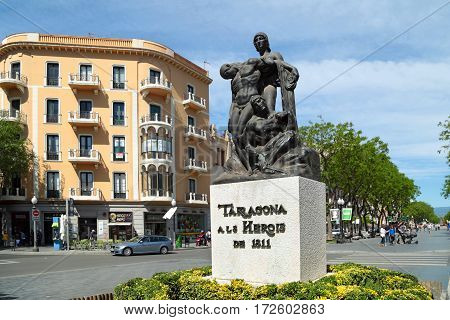 TARRAGONA/ SPAIN - MAY 16. The monument to the heroes of 1811 on May 16, 2015 in city Tarragona, Spain.