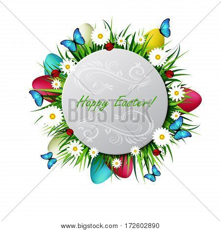 Happy Easter card with eggs camomiles butterflyes ladybugs and grass