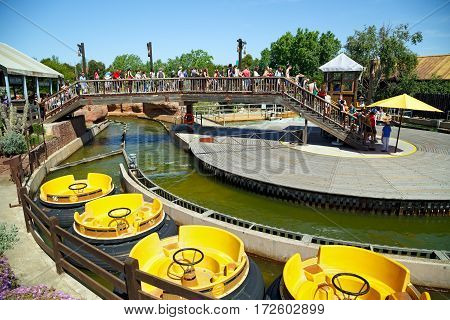 SALOU/ SPAIN - MAY 12. Attraction Grand Canyon Rapids in the theme park Port Aventura on May 12, 2015 in city Salou, Spain.