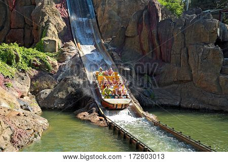 SALOU/ SPAIN - MAY 12. Attraction Tutuki Splash in the theme park Port Aventura on May 12, 2015 in city Salou, Spain.