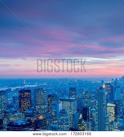 View of New York Manhattan during sunset hours