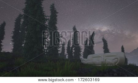 3d illustration of the night scene with sofa standing on grassy hill