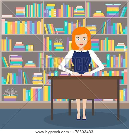 the girl-librarian at the Desk on the background of the bookcase. vector illustration. flat style.